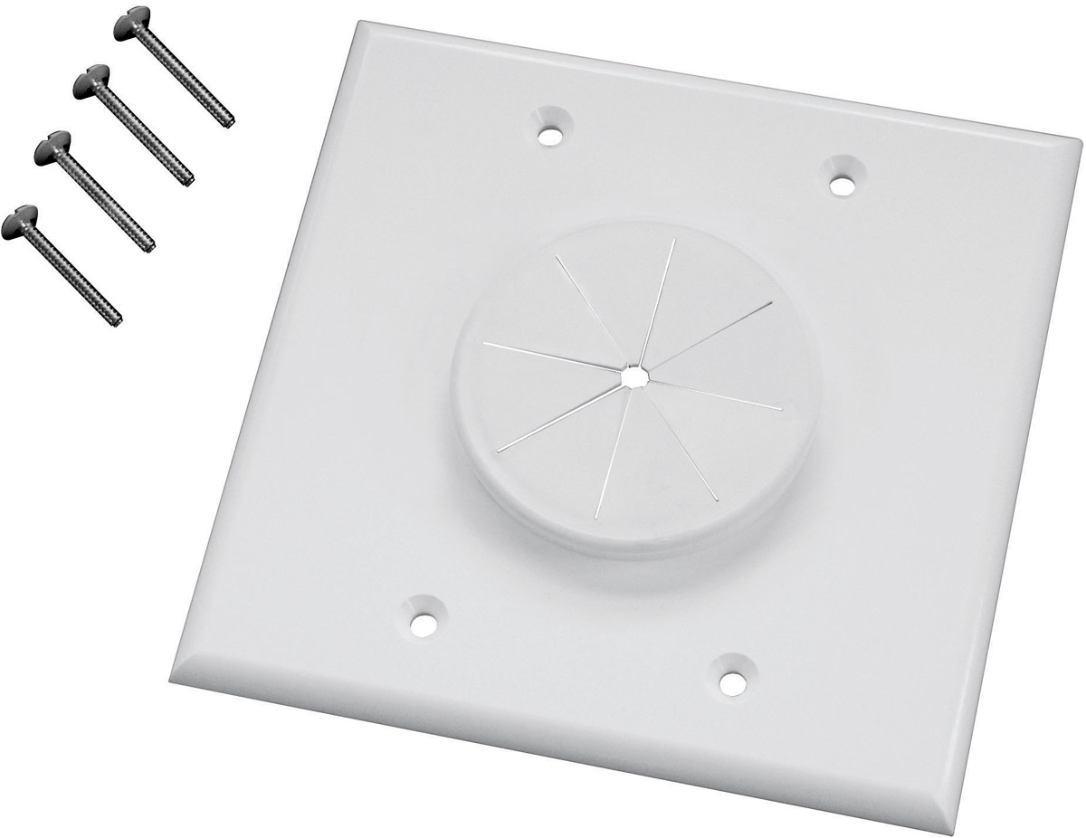 Midlite 2GBK-GR2 2 GANG Wireport Wall Plate with Grommet- Black