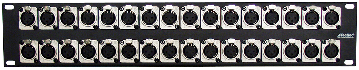 Connectronics XLR Female Patch Panel with NC3FD-SCREW Connectors - 32