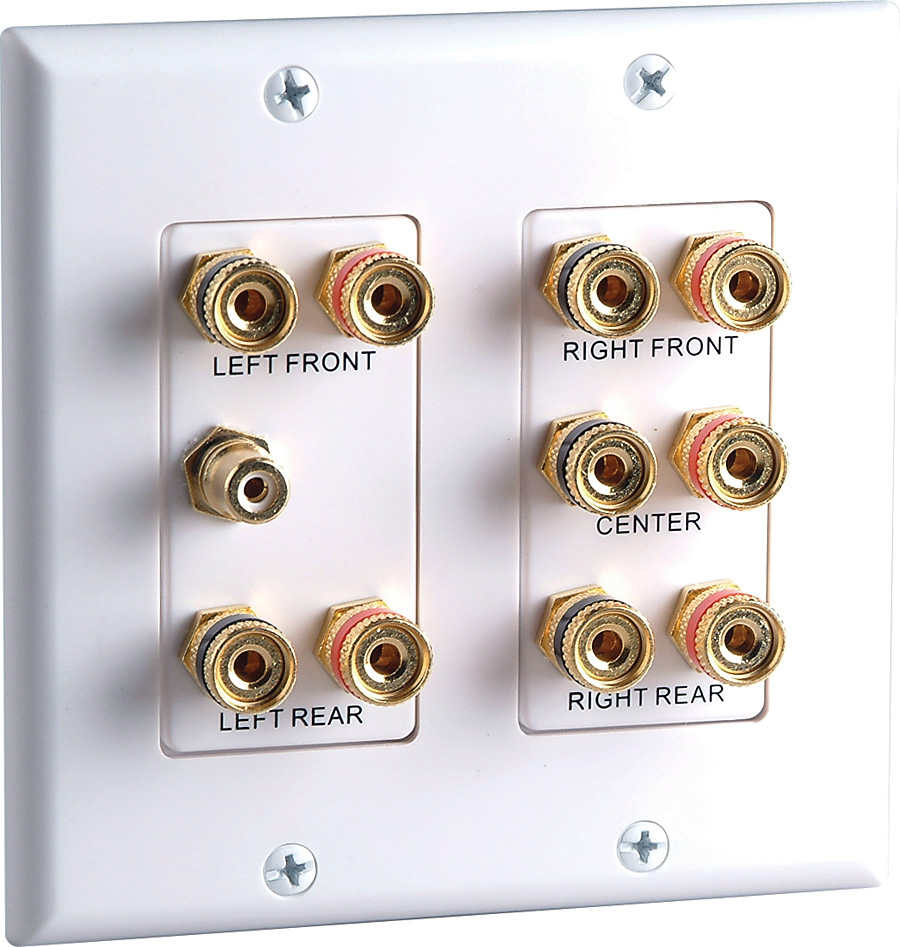Datacomm 45-0060 2-Gang 5.1 Surround Sound Wall Plate White 45-0060