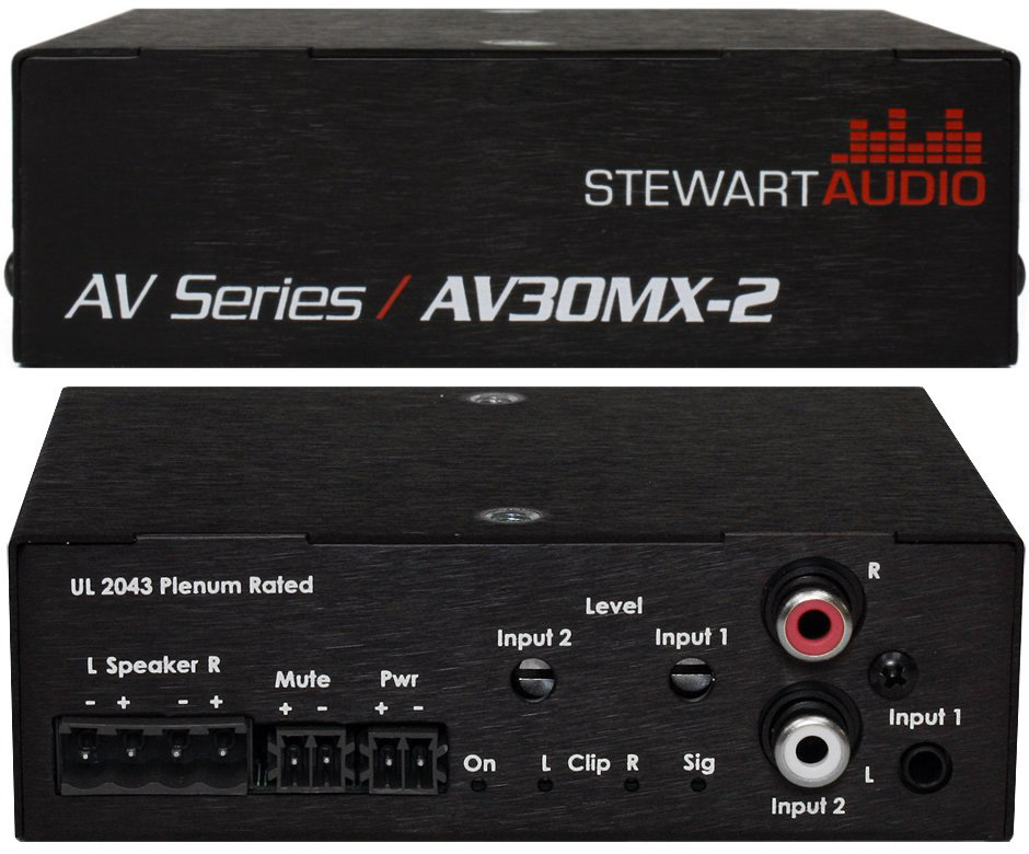 Stewart Audio AV30MX-2 2 Channel Stereo Mixer Amp - 30W x 2 at 8 Ohm