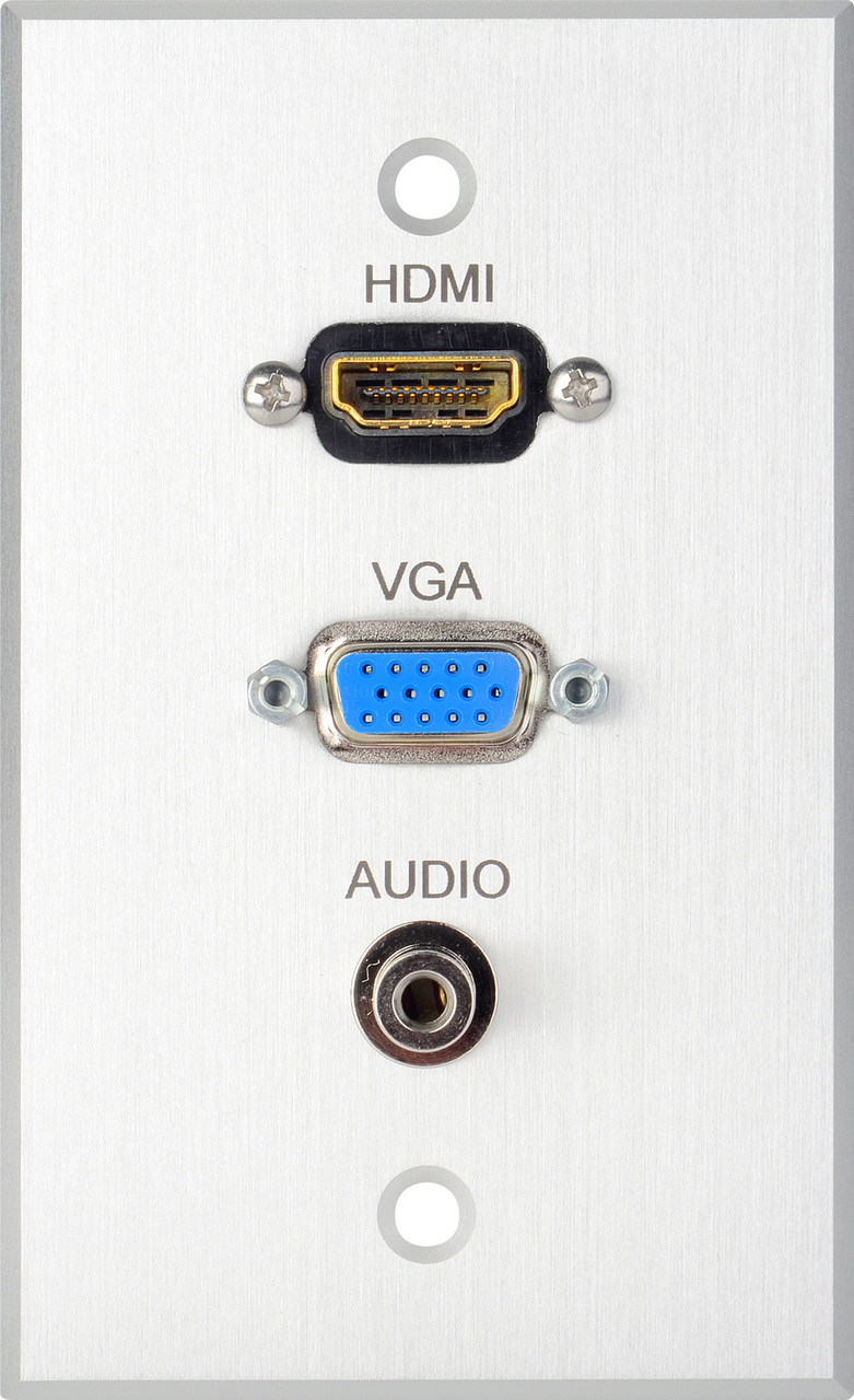 TecNec Board Room Series 1 Gang Clear Anodized Wall Plate w/ HDMI VGA