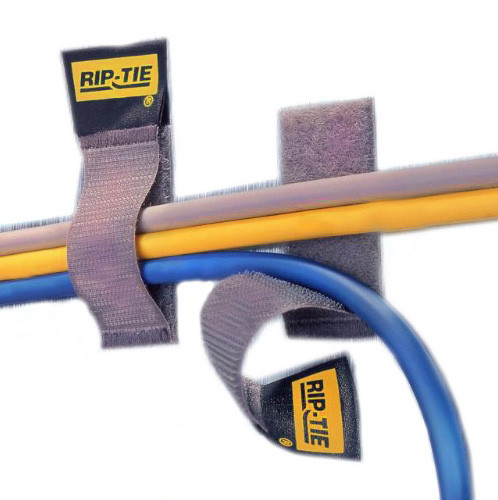 Rip-Tie CableCatch 1x8In. Black Surface Mount Velcro Cable Wraps 5 Pk.
