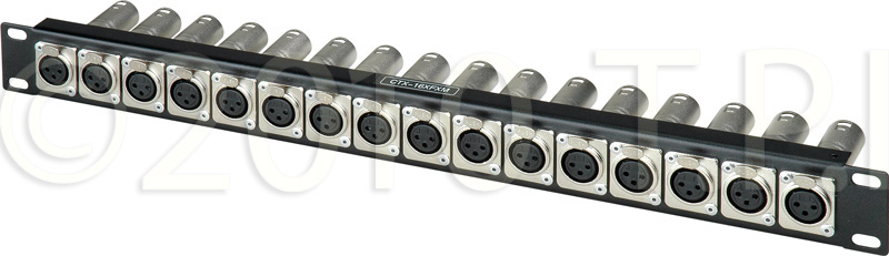 Connectronics CTX-16XFXM XLR Feedthrough 1RU Patch Panel 16-F Front /
