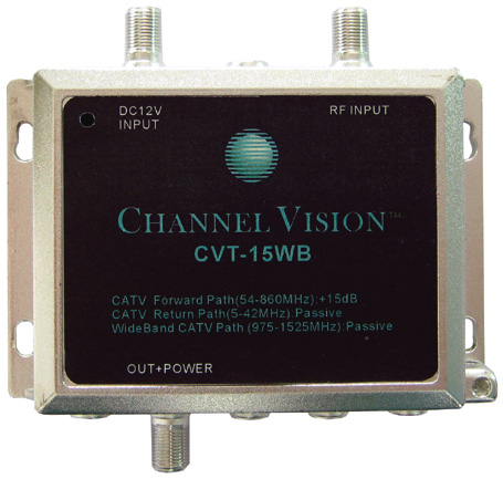 Channel Vision CVT-15WB 15dB RF Amplifier for Standard and Wide Bandwi