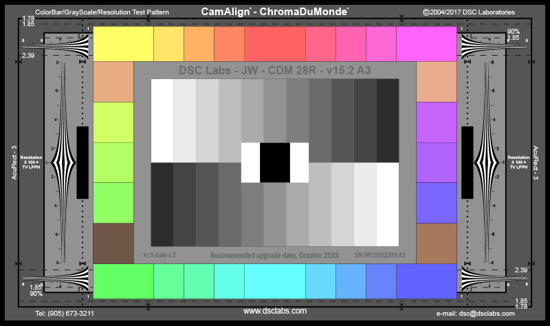 DSC Labs SRW23-CDM28R ChromaDuMonde28R Color Correction Test Chart with Resolution - Standard 21.3 x 13 DSCL-SW-CDM28R-S
