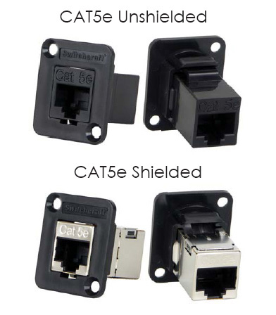 Switchcraft EHRJ45P5E RJ45 Cat5 Feedthru Panel Mount Connector (Unshie