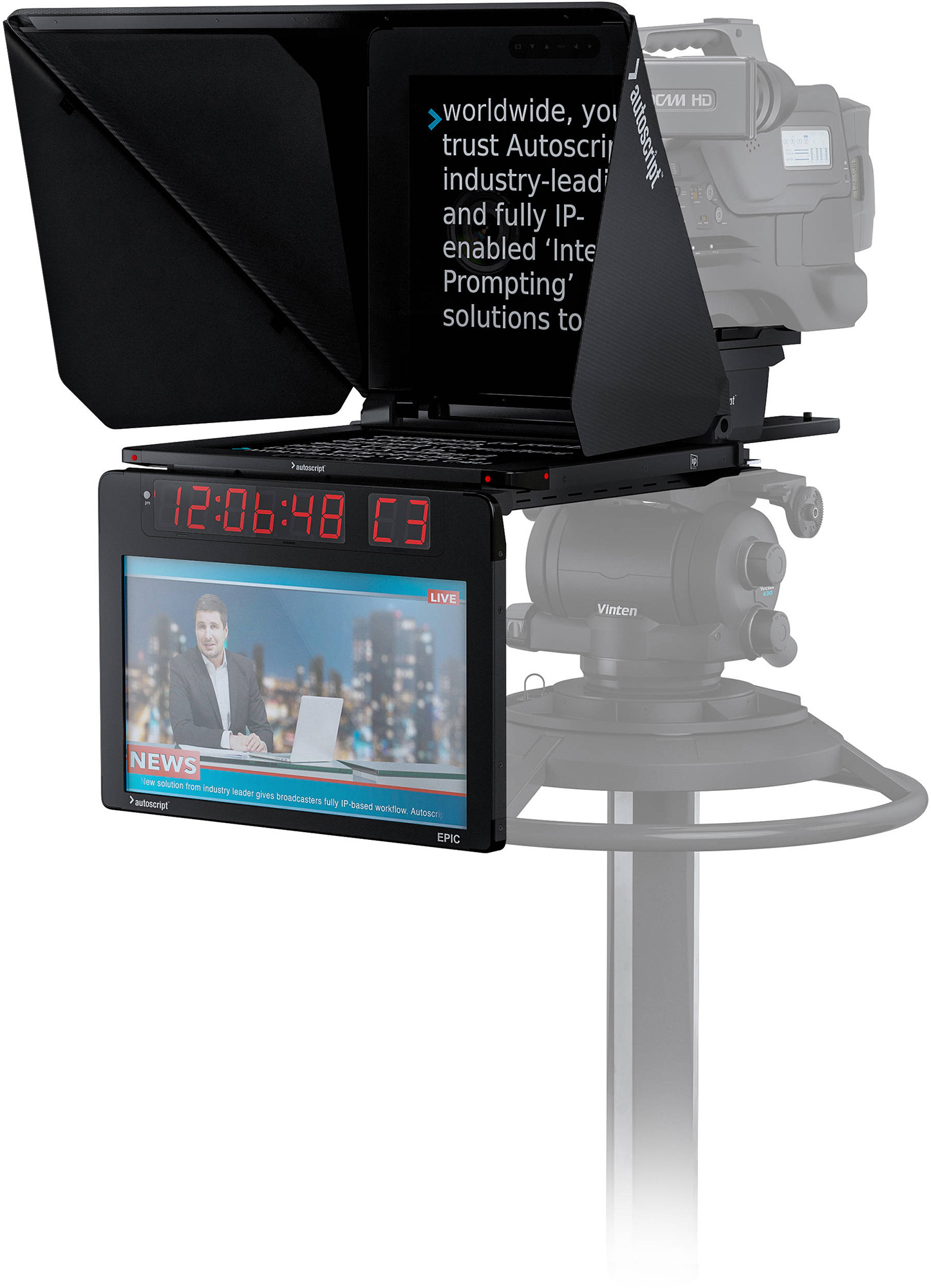 Autoscript EPIC-IP15 On-Camera Package with 15-Inch Prompt Monitor and Integrated 15-Inch Talent Monitor EPIC-IP15