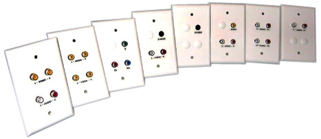 White Cat5 Wall Plate with Dual RCA Video and Dual RCA Stereo Audio
