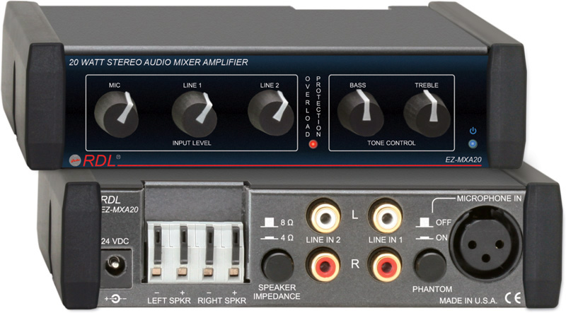 RDL EZ-MXA20 20 Watt Stereo Audio Mixer Amplifier EZ-MXA20