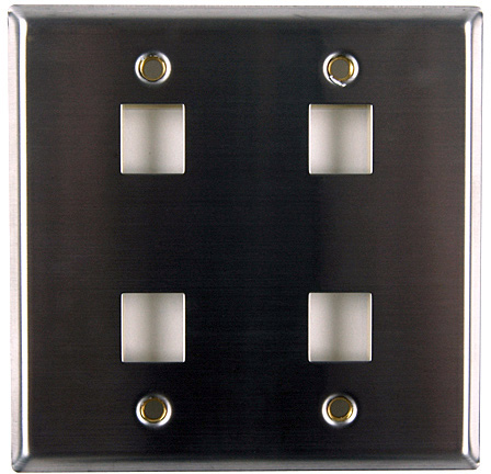 HellermannTyton FPDGQUAD-SS Stainless Steel 4 Port Flush Mount Facepla