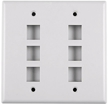 Six Port Dual Gang Flushmount Faceplate White FPDGSIX-WE