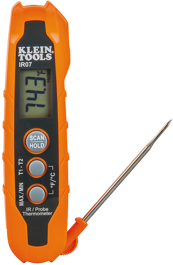 Klein Tools IR07 Dual IR/Probe Thermometer IR07 Digital Temperature Heat Display Readout IR07