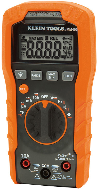 Klein Tools MM400 Digital Multimeter Auto-Ranging 600V MM400