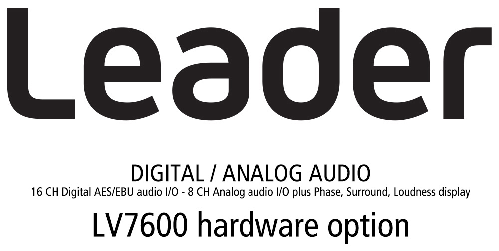 Leader LV7600-SER03 DOLBY - Dolby Digital - Dolby E Decode and Analysis for LV7600 (hardware option) LR-LV7600-SER03
