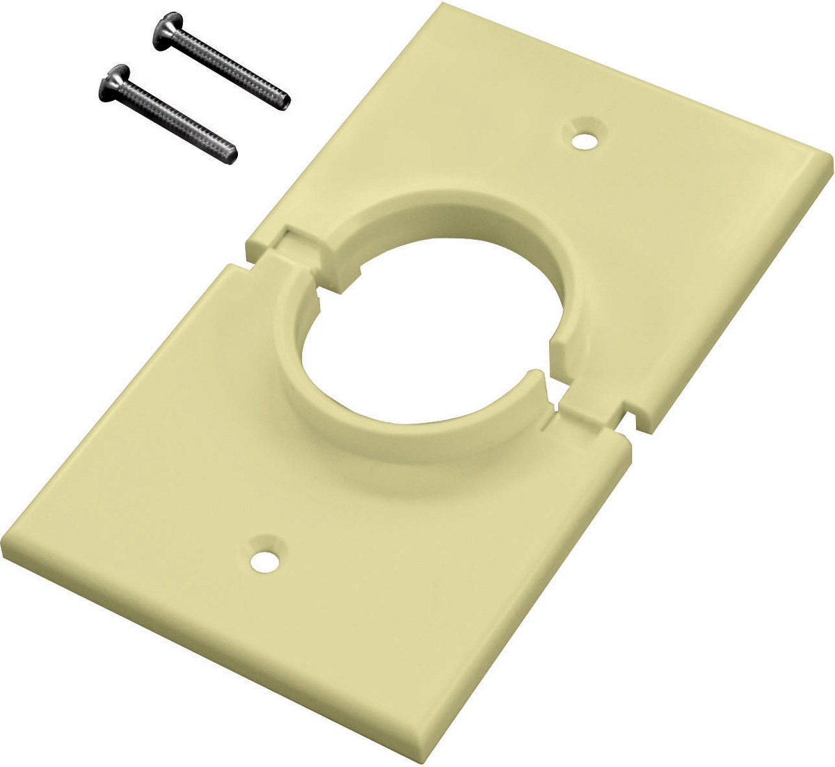 Single Gang White Split-Port Cable Pass Through Plate MID-1GSPWE