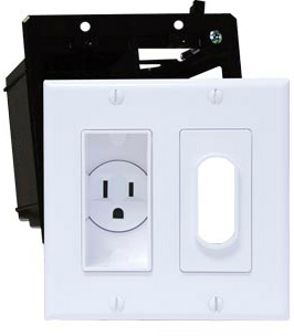 Double Gang Decor Recessed Receptacle HDTV Plate Kit Ivory