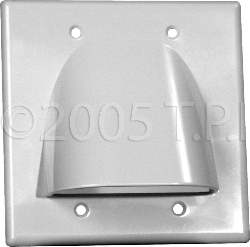 Double Gang White Bulk Cable Pass Through Plate MID-2GNWH