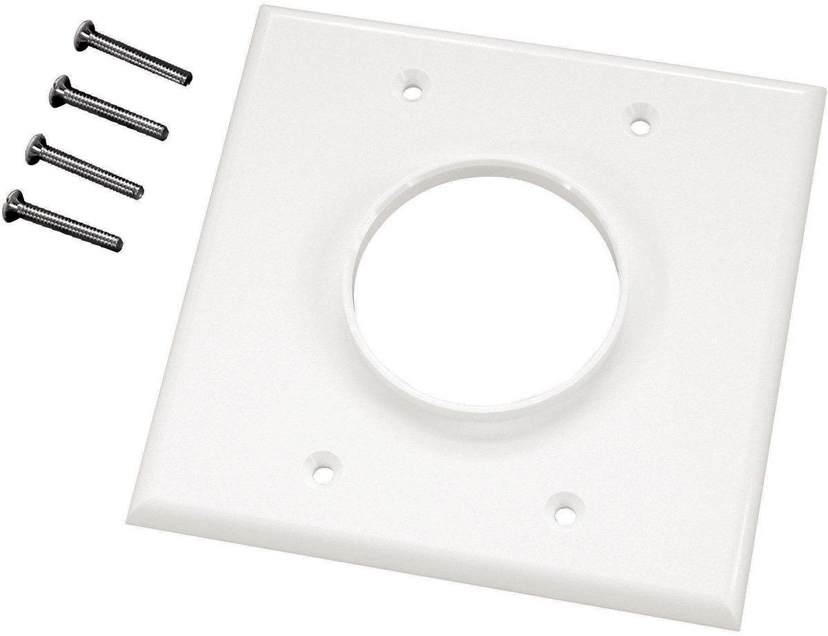 Double Gang Ivory Wireport Cable Pass Through Plate MID-2GIV