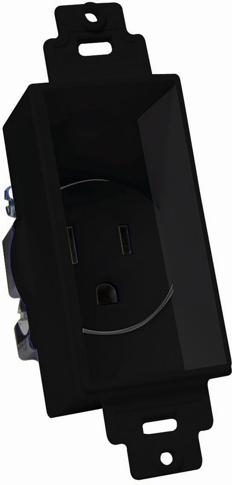 Single Gang Decor Recessed AC Receptacle Black MID-4641-BK