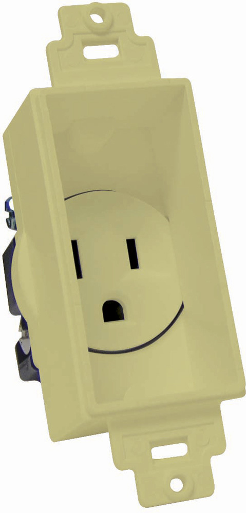 Single Gang Decor Recessed AC Receptacle Ivory MID-4641-IY