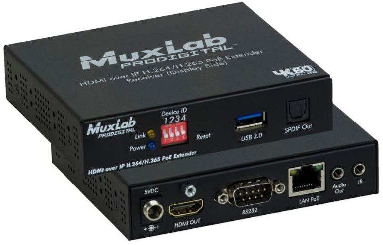 Muxlab 500762-RX 1080p HDMI to H.264/H.265 over IP 4K Scaling Receiver with PoE 500762-RX