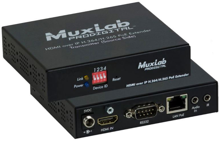 Muxlab 500762-TX 1080p HDMI to H.264/H.265 over IP Transmitter with PoE 500762-TX