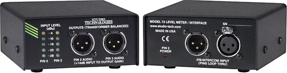 StudioTechnologies Model 72 Audio Level Meter/Interface - 3-Pin XLR Connection  MODEL72
