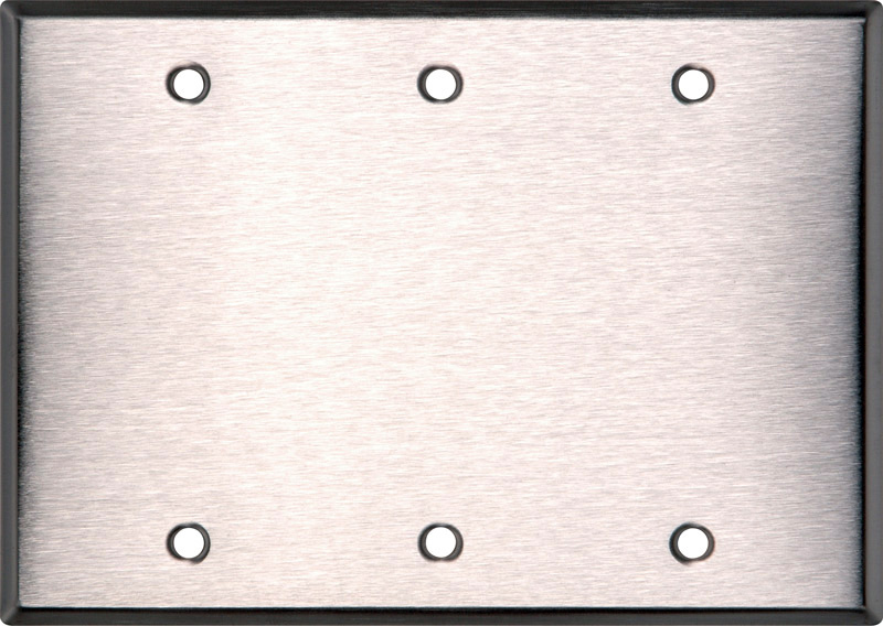 BlankTriple Gang Black Anodized Aluminum Wall Plate WP3A-B