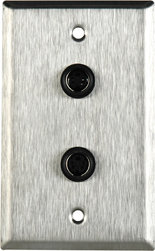 1-Gang Stainless Steel Wall Plate with 2- 4 Pin S-Video With Rear Sold