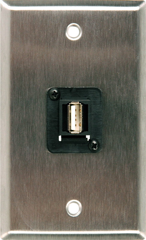 USB to Cat5e/6 1 Gang Stainless Wall Plate WPL-1211