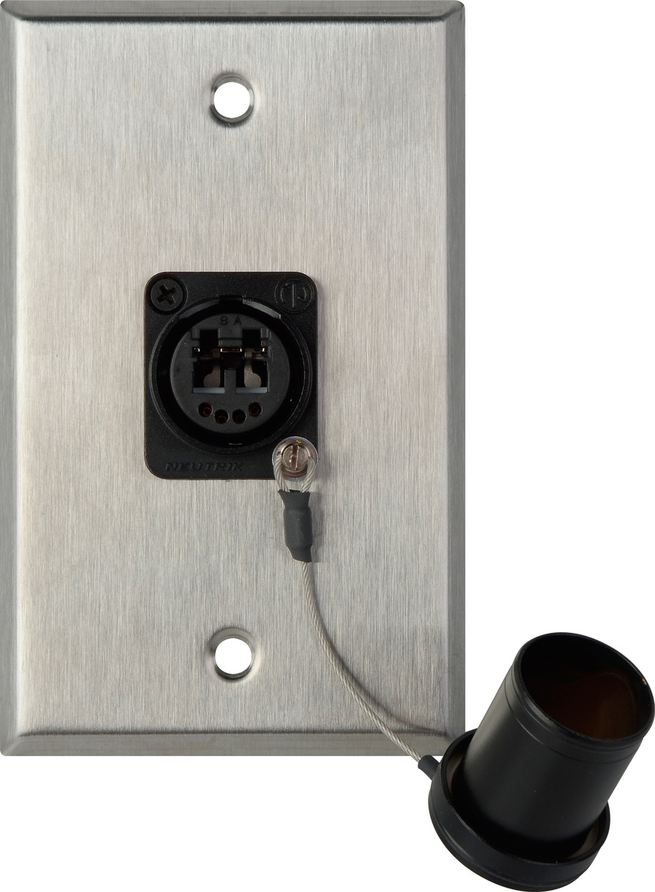 1-Gang Stainless Steel Wall Plate w/ 1 OpticalCON DUO Fiber Optic & Du