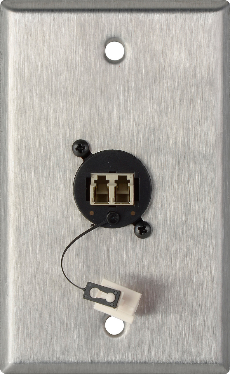 1G Stainless Steel Wall Plate w/ 1 SENKO Duplex LC Multimode WPL-1218