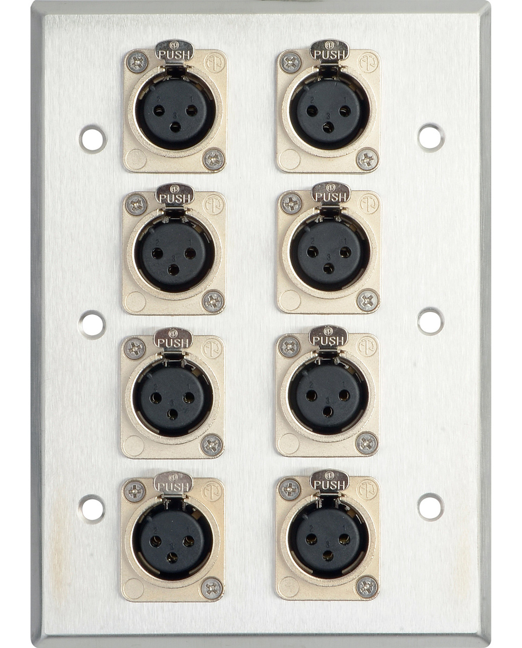 3-Gang Stainless Steel Wall Plate with 8 NC3FD-L-1 XLR Connectors