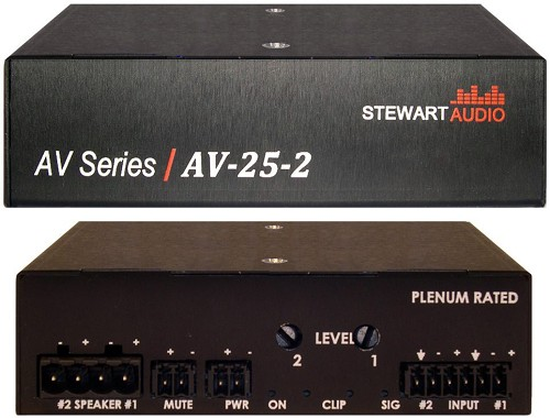 Stewart Audio AV-25-2 2-Channel Subcompact Amp - 25W x 2 at 8 Ohm